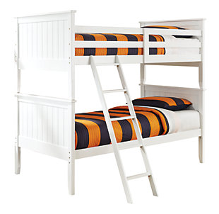 Lulu Twin Bunk Bed with 2 Nightstands, White / Silver Accent, large