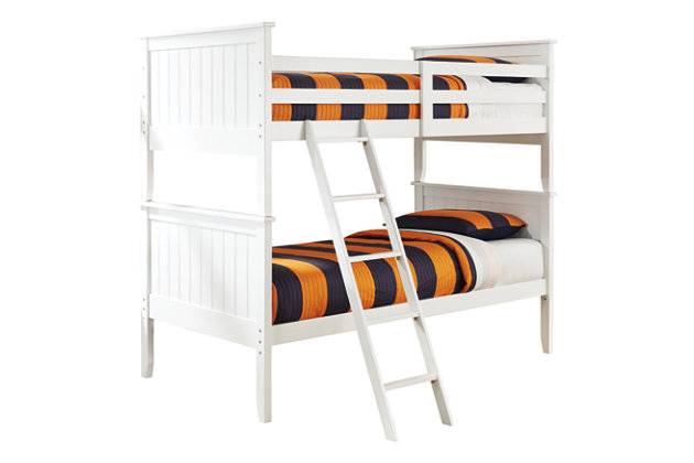 Lulu Twin Bunk Bed with Nightstand Mattress and Pillow, , large