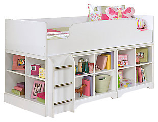 Lulu Twin Loft Bed with 2 Bookcases, , large