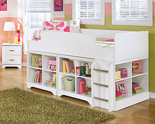 Lulu Twin Loft Bed with 2 Bookcases, , rollover