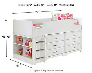 Lulu Twin Loft Bed with 6 Drawer Storage, , large