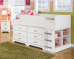 Lulu Twin Loft Bed with 6 Drawer Storage, , rollover