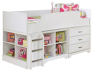 Lulu Twin Loft Bed with 3 Drawer Storage and Bookcase, , large