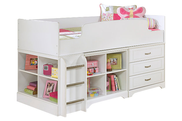 Lulu Twin Loft Bed With Storage And Bookcase Ashley