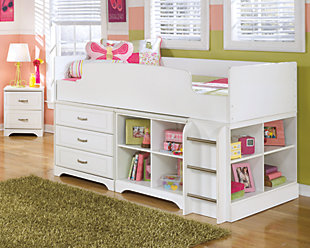 Lulu Twin Loft Bed with 3 Drawer Storage and Bookcase, , rollover