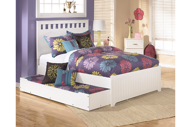 full trundle bed has white rolling trundle storage box that enables the option of storage or