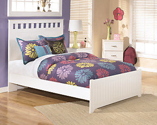 Lulu Full Panel Bed, White, rollover