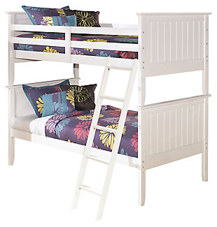Lulu Kids 3-Piece Twin over Twin Bunk Bed, White, large