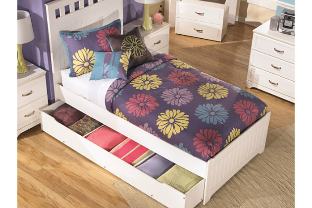 product shown on a white background white trundle bed has a white full