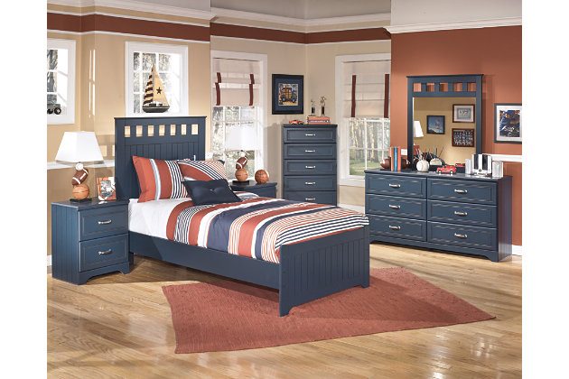 Leo Twin Panel Bed, Blue, large