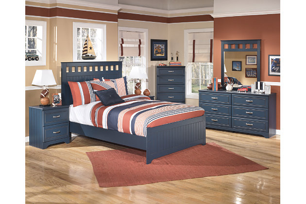 Leo Full Panel Bed, Blue, large