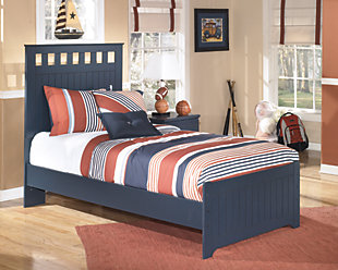 Leo Twin Panel Bed, Blue, rollover