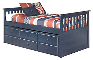 Leo Twin Trundle Bed, Blue, large