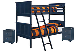 Leo Twin Bunk Bed with 2 Nightstands, Slate, large