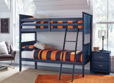 Leo Twin Bunk Bed with Nightstand Mattress and Pillow, , large