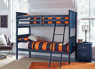 Leo Twin Bunk Bedroom with Nightstand, Blue, rollover