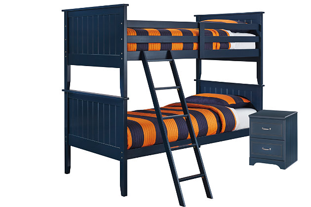 Leo Twin Bunk Bedroom with Nightstand, Blue, large