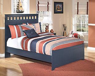Leo Full Panel Bed, Blue, rollover