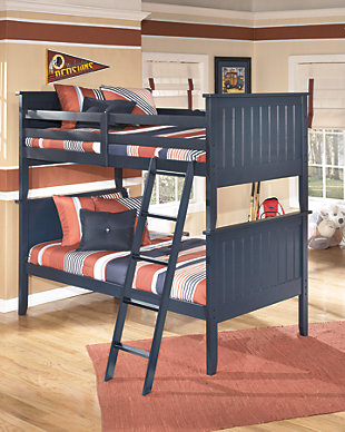 Leo 4-Piece Twin Bunk Bedroom, Blue, rollover