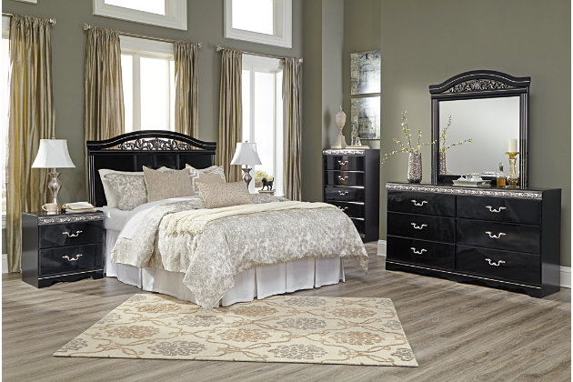 Constellations Queen Panel Bed, Black, large