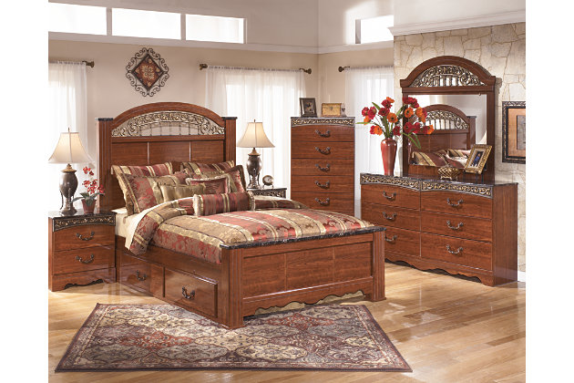 Fairbrooks Estate Queen Poster Bed with Storage, Reddish Brown, large