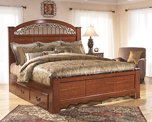 Fairbrooks Estate King Poster Bed with 2 Storages, Reddish Brown, large