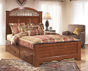 Fairbrooks Estate Queen Poster Bed, Reddish Brown, rollover