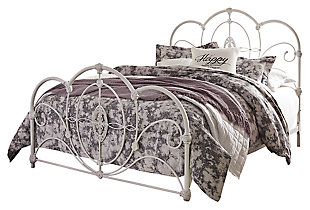 Loriday Queen Metal Bed, Aged White, large
