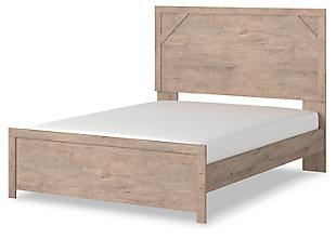 Senniberg Queen Panel Bed, Light Brown/White, rollover