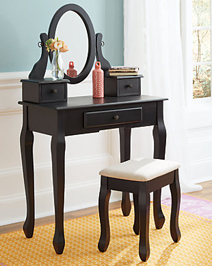 Huey Vineyard Vanity and Mirror with Stool, , rollover