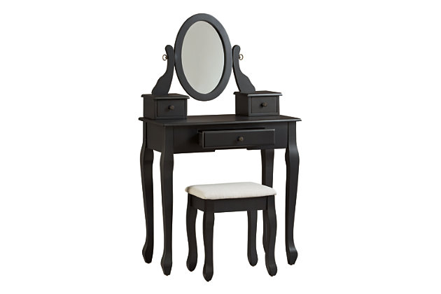 Huey Vineyard Vanity and Mirror with Stool, , large