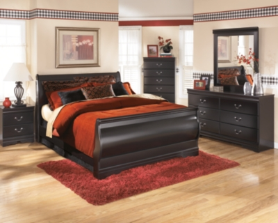 Queen Sleigh Bed Black Vineyard Product Photo 1564