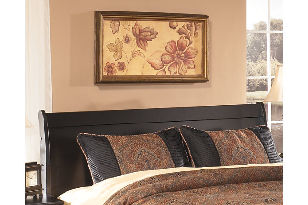 Huey Vineyard Queen Sleigh Headboard, Black, large