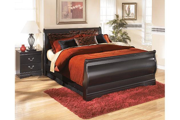 Huey Vineyard King Sleigh Bed, Black, large