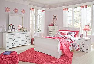 Anarasia Full Sleigh Bed, White, large