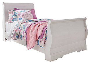 Anarasia Twin Sleigh Bed, White, large