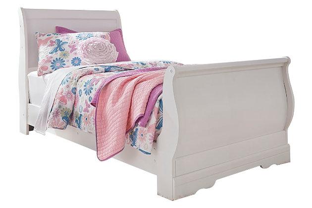 White Anarasia Twin Sleigh Bed View 2