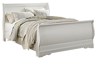 Anarasia Queen Sleigh Bed, White, large
