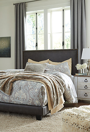 Dolante Queen Upholstered Bed, Grayish Brown, large
