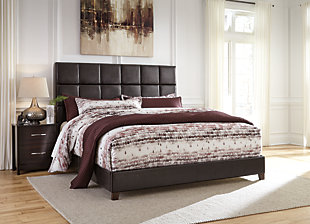 Dolante King Upholstered Bed, Dark Brown, large