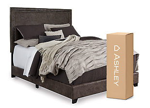 "Dolante Queen Upholstered Bed with 8"" Memory Foam Mattress in a Box, Brown, large"