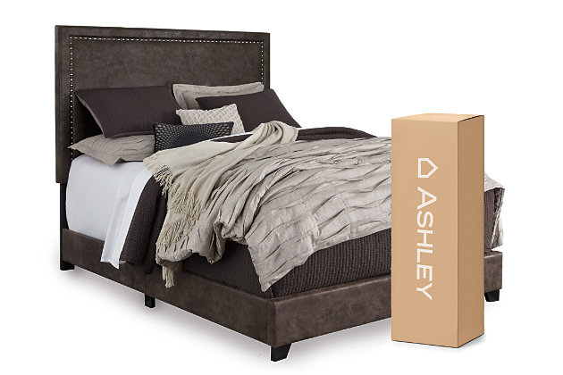 dolante queen upholstered bed with 10 memory foam mattress in a box ashley furniture homestore. Black Bedroom Furniture Sets. Home Design Ideas