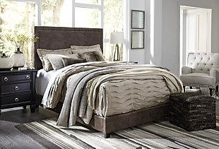 Dolante King Upholstered Bed, Brown, large