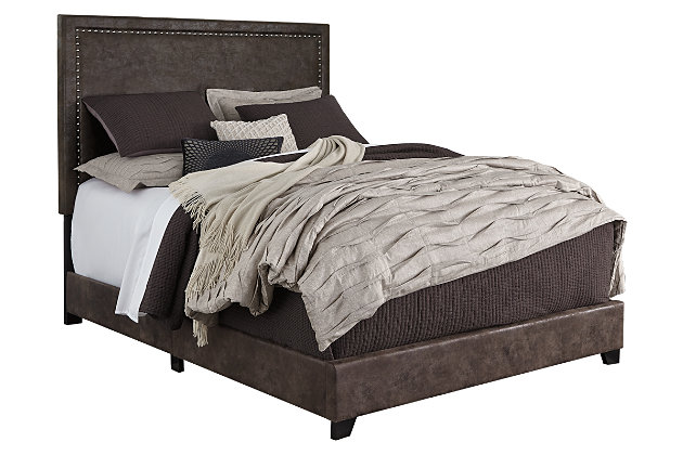 """Dolante Queen Upholstered Bed with 10"""" Hybrid Mattressin a Box, Brown, large"""