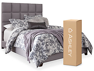"Dolante Queen Upholstered Bed with 10"" Memory Foam Mattress in a Box, Gray, large"