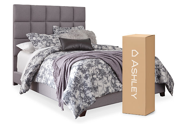 "Dolante Queen Upholstered Bed with 10"" Hybrid Mattress in a Box, Gray, large"