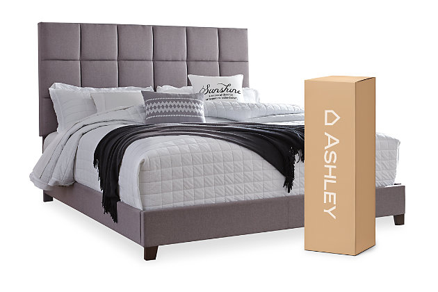 """Dolante King Upholstered Bed with 10"""" Hybrid Mattressin a Box, Gray, large"""