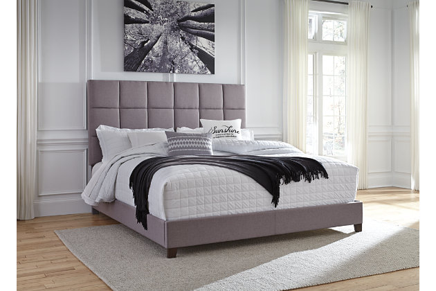 "Dolante King Upholstered Bed with 10"" Hybrid Mattress in a Box, Gray, large"