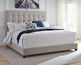 ... Large Dolante Queen Upholstered Bed, Beige, Rollover
