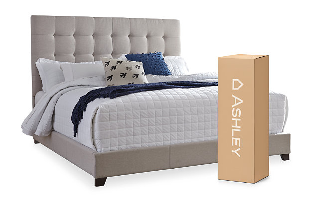 "Dolante Queen Upholstered Bed with 10"" Memory Foam Mattress in a Box, Beige, large"